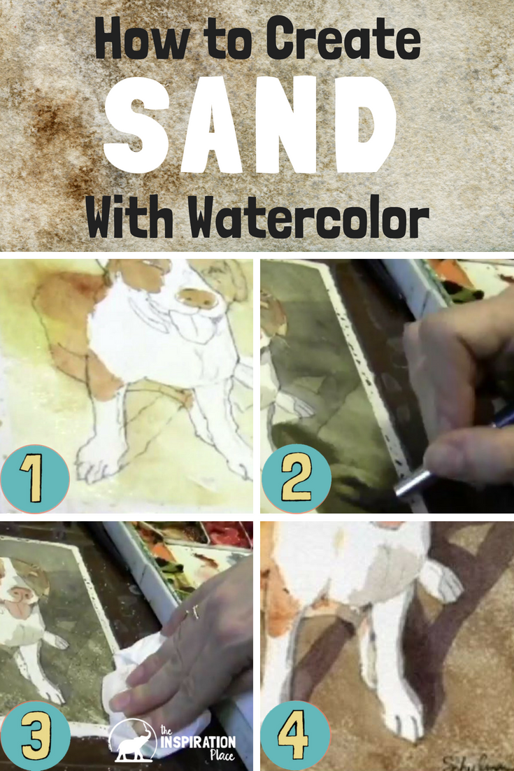 learn watercolor techniques for how to paint sand for beach landscapes https://www.schulmanart.com/2015/09/watercolor-wednesdays-how-to-paint-sand/